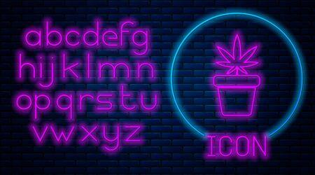 Glowing neon Medical marijuana or cannabis plant in pot icon isolated on brick wall background. Marijuana growing concept. Hemp potted plant. Neon light alphabet. Vector Illustration Illustration