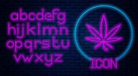 Glowing neon Medical marijuana or cannabis leaf icon isolated on brick wall background. Hemp symbol. Neon light alphabet. Vector Illustration Illustration