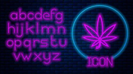 Glowing neon Medical marijuana or cannabis leaf icon isolated on brick wall background. Hemp symbol. Neon light alphabet. Vector Illustration Stock fotó - 133396852