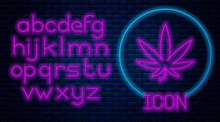 Glowing neon Medical marijuana or cannabis leaf icon isolated on brick wall background. Hemp symbol. Neon light alphabet. Vector Illustration Stock fotó - 133396853