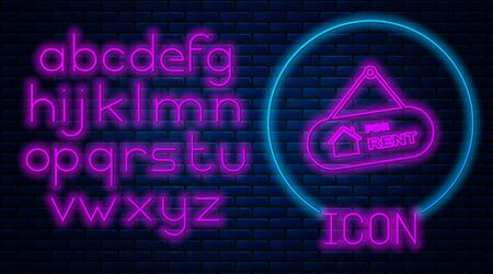 Glowing neon Hanging sign with text For Rent icon isolated on brick wall background. Signboard with text For Rent. Neon light alphabet. Vector Illustration Çizim