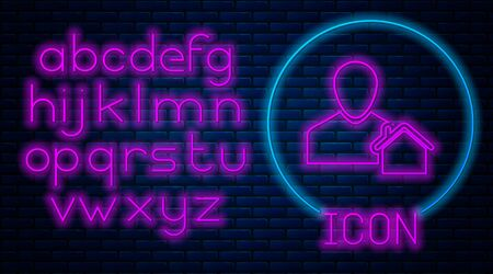 Glowing neon Realtor icon isolated on brick wall background. Buying house. Neon light alphabet. Vector Illustration