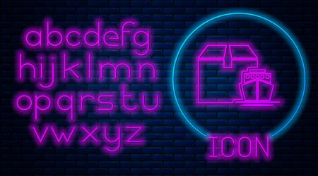 Glowing neon Cargo ship with boxes delivery service icon isolated on brick wall background. Delivery, transportation. Freighter with parcels, boxes, goods. Neon light alphabet. Vector Illustration Banque d'images - 133560577