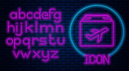 Glowing neon Plane and cardboard box icon isolated on brick wall background. Delivery, transportation. Cargo delivery by air. Airplane with parcels, boxes. Neon light alphabet. Vector Illustration