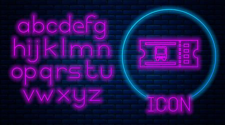 Glowing neon Bus ticket icon isolated on brick wall background. Public transport ticket. Neon light alphabet. Vector Illustration