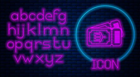 Glowing neon Airline ticket icon isolated on brick wall background. Plane ticket. Neon light alphabet. Vector Illustration 스톡 콘텐츠 - 133560721