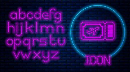 Glowing neon Airline ticket icon isolated on brick wall background. Plane ticket. Neon light alphabet. Vector Illustration 일러스트