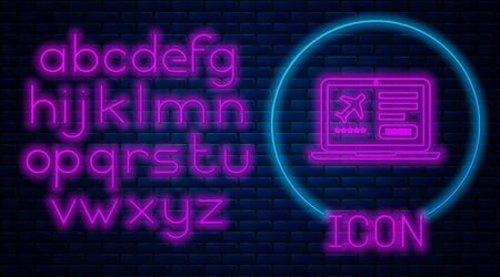 Glowing neon Laptop with electronic boarding pass airline ticket icon isolated on brick wall background. Passenger plane mobile ticket for web and app. Neon light alphabet. Vector Illustration