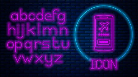 Glowing neon Smartphone with electronic boarding pass airline ticket icon isolated on brick wall background. Passenger plane mobile ticket for web and app. Neon light alphabet. Vector Illustration