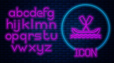 Glowing neon Rafting boat icon isolated on brick wall background. Kayak with paddles. Water sports, extreme sports, holiday, vacation, team building. Neon light alphabet. Vector Illustration