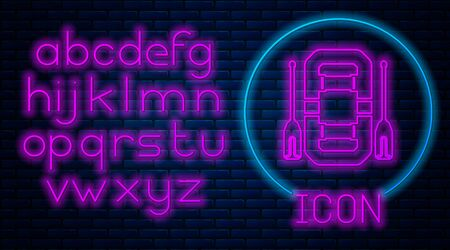 Glowing neon Rafting boat icon isolated on brick wall background. Inflatable boat with oars. Water sports, extreme sports, holiday, vacation, team building. Neon light alphabet. Vector Illustration