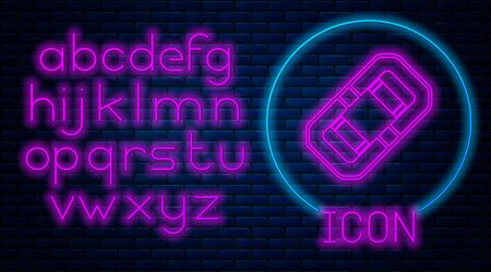 Glowing neon Rafting boat icon isolated on brick wall background. Inflatable boat. Water sports, extreme sports, holiday, vacation, team building. Neon light alphabet. Vector Illustration
