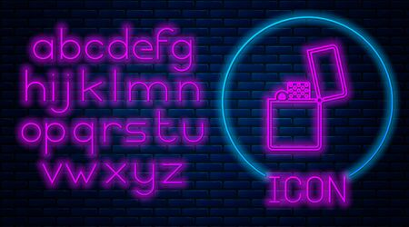 Glowing neon Lighter icon isolated on brick wall background. Neon light alphabet. Vector Illustration Ilustração
