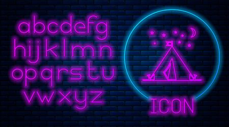 Glowing neon Tourist tent with flag icon isolated on brick wall background. Camping symbol. Neon light alphabet. Vector Illustration