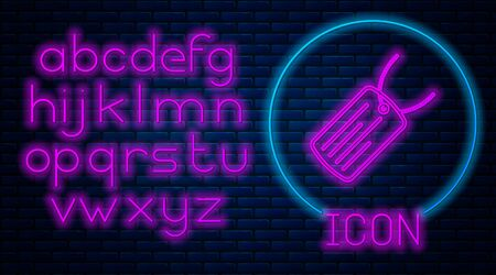 Glowing neon Military dog tag icon isolated on brick wall background. Identity tag icon. Army sign. Neon light alphabet. Vector Illustration Ilustração