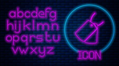 Glowing neon Military dog tags icon isolated on brick wall background. Identity tags icon. Army sign. Neon light alphabet. Vector Illustration