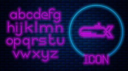 Glowing neon Submarine icon isolated on brick wall background. Military ship. Neon light alphabet. Vector Illustration Ilustração
