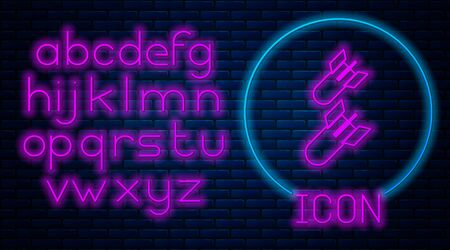 Glowing neon Aviation bomb icon isolated on brick wall background. Rocket bomb flies down. Neon light alphabet. Vector Illustration