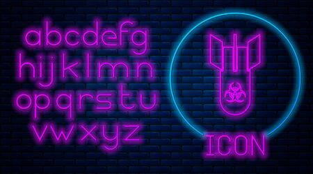 Glowing neon Biohazard bomb icon isolated on brick wall background. Rocket bomb flies down. Neon light alphabet. Vector Illustration Ilustração