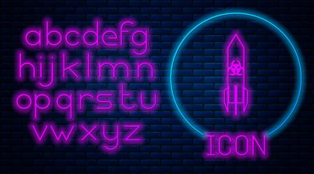 Glowing neon Biohazard rocket icon isolated on brick wall background. Rocket bomb flies down. Neon light alphabet. Vector Illustration