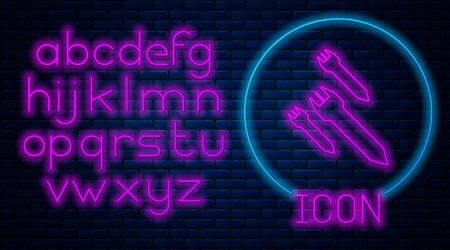 Glowing neon Rocket icon isolated on brick wall background. Neon light alphabet. Vector Illustration