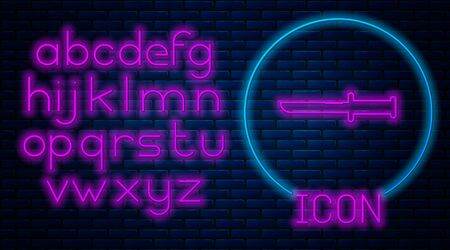 Glowing neon Military knife icon isolated on brick wall background. Neon light alphabet. Vector Illustration