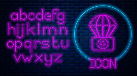 Glowing neon Parachute with first aid kit icon isolated on brick wall background. Medical insurance. Neon light alphabet. Vector Illustration 스톡 콘텐츠 - 133396775