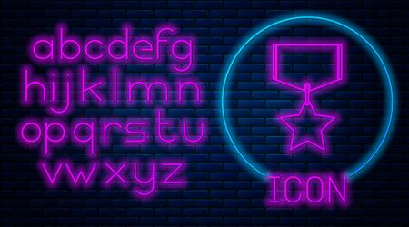 Glowing neon Military reward medal icon isolated on brick wall background. Army sign. Neon light alphabet. Vector Illustration Ilustração