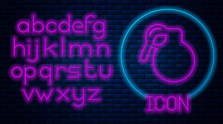 Glowing neon Hand grenade icon isolated on brick wall background. Bomb explosion. Neon light alphabet. Vector Illustration