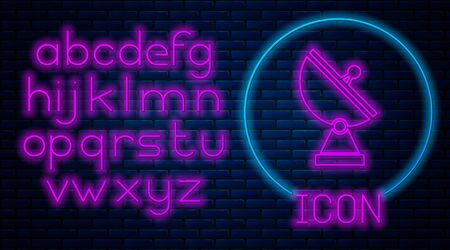 Glowing neon Radar icon isolated on brick wall background. Military search system. Neon light alphabet. Vector Illustration Ilustração