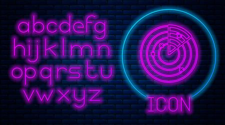 Glowing neon Radar with targets on monitor in searching icon isolated on brick wall background. Military search system. Navy sonar. Neon light alphabet. Vector Illustration Ilustração