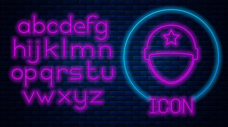 Glowing neon Military helmet icon isolated on brick wall background. Army hat symbol of defense and protect. Protective hat. Neon light alphabet. Vector Illustration Illustration