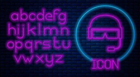 Glowing neon Military helmet icon isolated on brick wall background. Army hat symbol of defense and protect. Protective hat. Neon light alphabet. Vector Illustration Ilustração