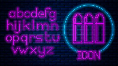 Glowing neon Bullet icon isolated on brick wall background. Neon light alphabet. Vector Illustration Ilustração
