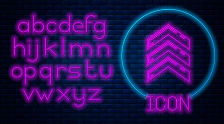 Glowing neon Military rank icon isolated on brick wall background. Military badge sign. Neon light alphabet. Vector Illustration