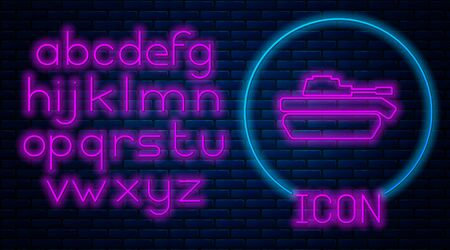 Glowing neon Military tank icon isolated on brick wall background. Neon light alphabet. Vector Illustration