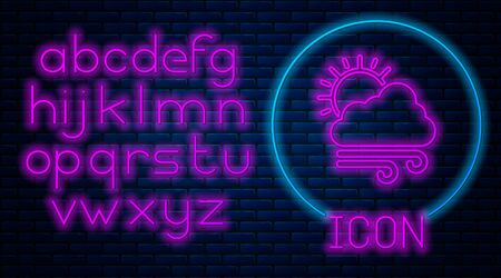 Glowing neon Windy weather icon isolated on brick wall background. Cloud with sun and wind. Neon light alphabet. Vector Illustration 일러스트