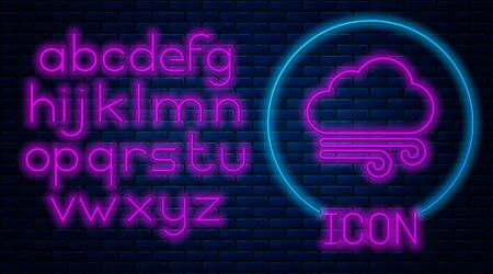 Glowing neon Windy weather icon isolated on brick wall background. Cloud and wind. Neon light alphabet. Vector Illustration