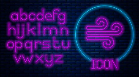 Glowing neon Wind icon isolated on brick wall background. Windy weather. Neon light alphabet. Vector Illustration 스톡 콘텐츠 - 133560157