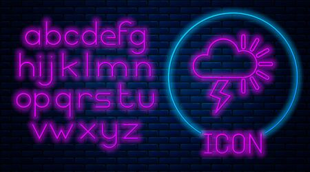 Glowing neon Storm icon isolated on brick wall background. Cloudy with lightning and sun sign. Weather icon of storm. Neon light alphabet. Vector Illustration Illusztráció