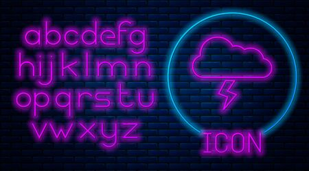 Glowing neon Storm icon isolated on brick wall background. Cloud and lightning sign. Weather icon of storm. Neon light alphabet. Vector Illustration