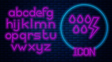 Glowing neon Storm icon isolated on brick wall background. Drop and lightning sign. Weather icon of storm. Neon light alphabet. Vector Illustration