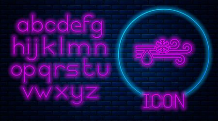 Glowing neon Wind and rain with snow icon isolated on brick wall background. Windy weather. Neon light alphabet. Vector Illustration