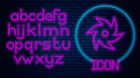 Glowing neon Tornado icon isolated on brick wall background. Cyclone, whirlwind, storm funnel, hurricane wind or twister weather icon. Neon light alphabet. Vector Illustration Foto de archivo - 133560170