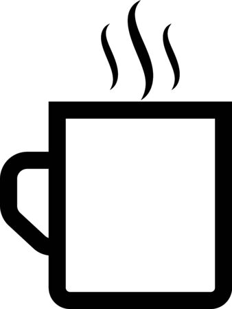 Black Coffee cup flat icon isolated on white background. Tea cup. Hot drink coffee. Vector Illustration Illusztráció