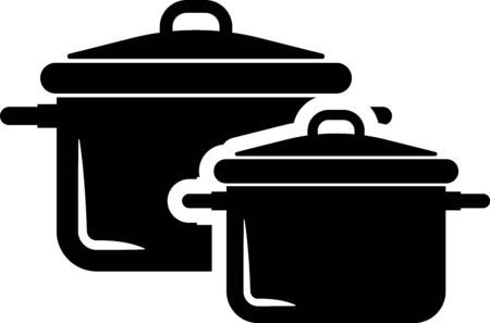 Black Cooking pot icon isolated on white background. Boil or stew food symbol. Vector Illustration Vectores