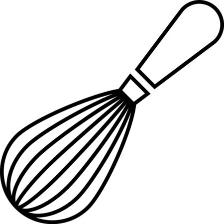 Black Kitchen whisk icon isolated on white background. Cooking utensil, egg beater. Cutlery sign. Food mix symbol. Vector Illustration