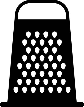 Black Grater icon isolated on white background. Kitchen symbol. Cooking utensil. Cutlery sign. Vector Illustration Vetores