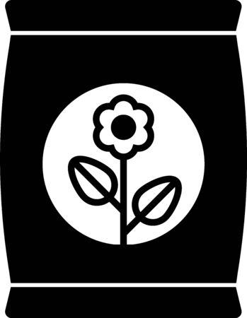Black Fertilizer bag icon isolated on white background. Vector Illustration