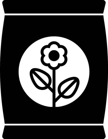 Icona del sacchetto di fertilizzante nero isolato su priorità bassa bianca. illustrazione vettoriale